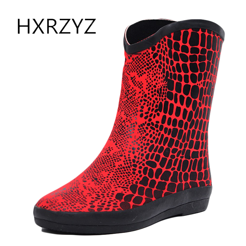 HXRZYZ women rubber boots ladies spring/autumn ankle rain boots 2017 new fashion slip-resistant waterproof women red/black shoes large size spring autumn fashion shoes women rain boots female elastic band slip resistant ankle boots waterproof rubber boots