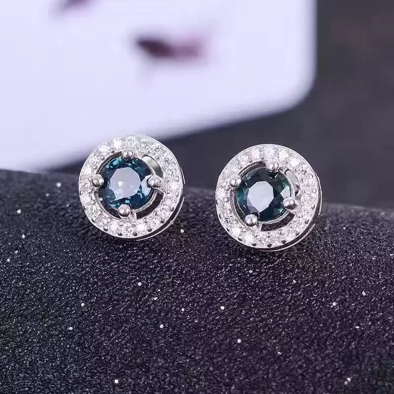 natural sapphire stone stud earrings 925 silver Natural gemstone earring women classic fine stud earrings jewelry for party pair of stylish rhinestone triangle stud earrings for women