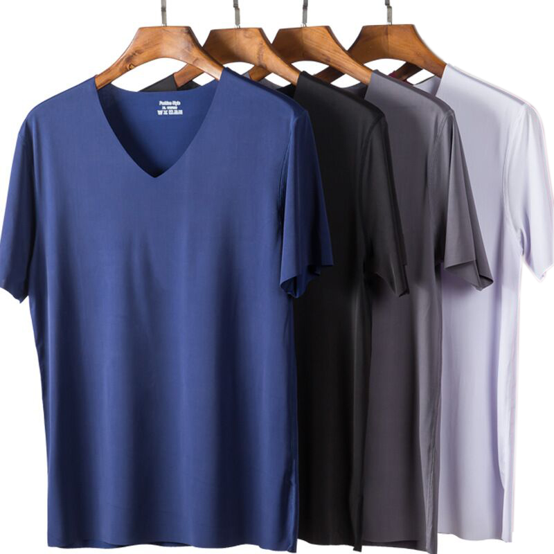 4Pcs New T Shirt Homme Men's Summer Thin Clothing Short Sleeve Ice Silk Solid Color Tshirt  Men Tops