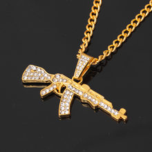 Alloy AK47 Gun Pendant Necklace Iced Out Rhinestone With Hip Hop Miami  Cuban Chain Gold Silver Color Men Women Jewelry 7b07bda479be