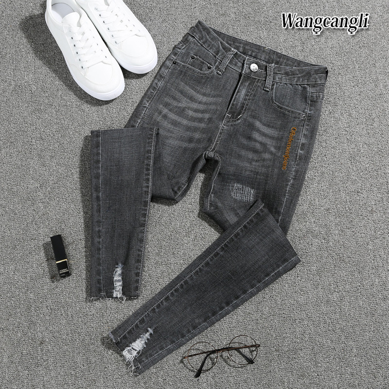 2018 Spring And Summer New Fashion Plus Size Feet Jeans High Waist Girls Nine Pants  Jeans For Women 016#