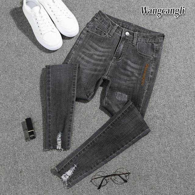 2018 a Primavera Eo verão de Moda de nova plus size pés calça jeans de  cintura 3311655322f