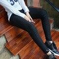 Карандаш женские брюки свободного покроя Большой размер 3XL 4XL 5XL 2016 нью-эластичный высокой талией тонкие узкие штаны черные длинные брюки 882