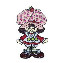 Cartoon Doll with Strawberry Hat Brooches for Women Cute Red Freckled Little Girl Badge Jewelry Enamel Pin Icon Backpack Gift