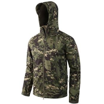 Venta al por mayor chaquetas tácticas hombres camuflaje Piel de tiburón suave Shell impermeable con capucha chaqueta militar Camo polar impermeable