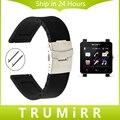 24mm caucho de silicona watch band correa de liberación rápida para sony smartwatch 2 sw2 hebilla de seguridad de acero inoxidable pulsera de la correa negro
