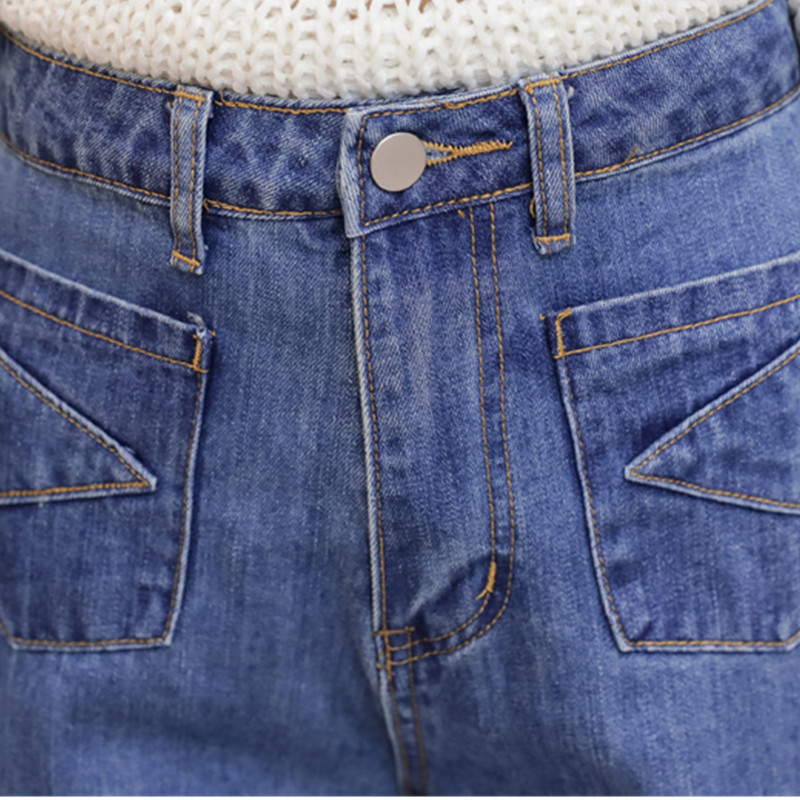 37ca9441f7aea Ladies Jeans Spring 2018 Fashion All match Loose Fit High Waist Casual Wide  Leg Straight Cropped Denim Jeans Pants For Women-in Jeans from Women s  Clothing ...