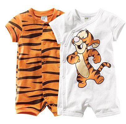 Baby Short Sleeve Cartoon Tiger Body Romper Infant Rompers Boy's Girl's Wear Stripes Baby Romper Baby Clothes