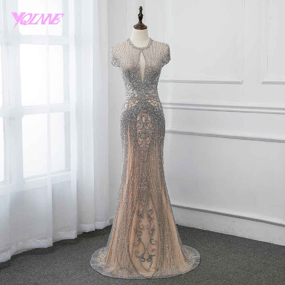 New Collection 2019 Glitter Silver Rhinestones Long Evening Dresses Elegant Nude Tulle Pageant Dress Women Gown Vestidos YQLNNE