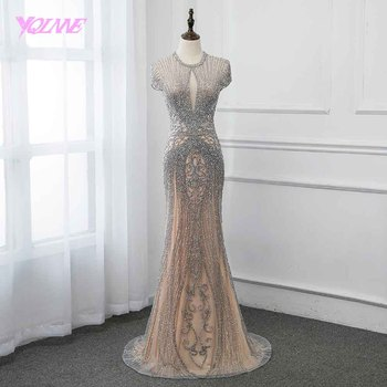 New Collection 2020 Silver Rhinestones Long Evening Dresses Elegant Nude Tulle Pageant Dress Women Gown Vestidos Cap Sleeve