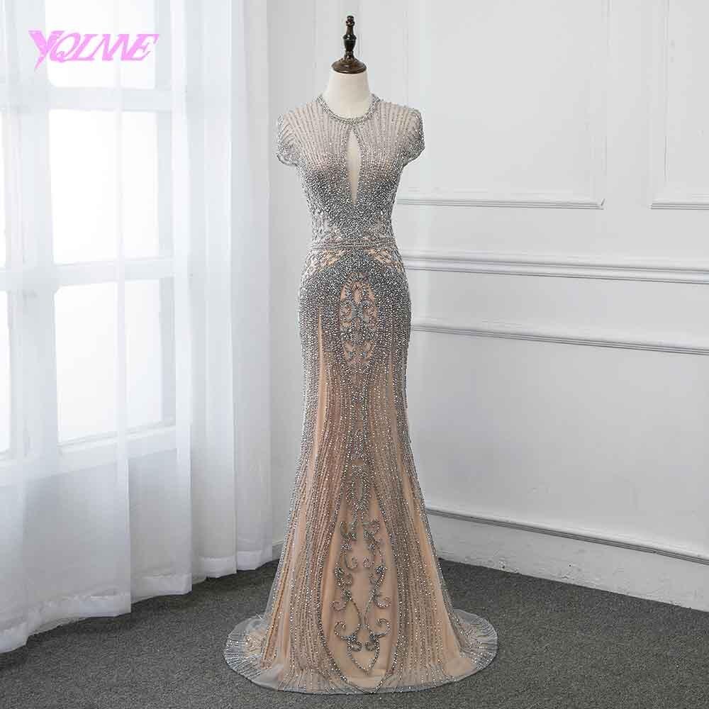 Nova coleção 2019 glitter prata strass longo vestidos de noite elegante nu tule pageant vestido feminino vestidos yqlnne