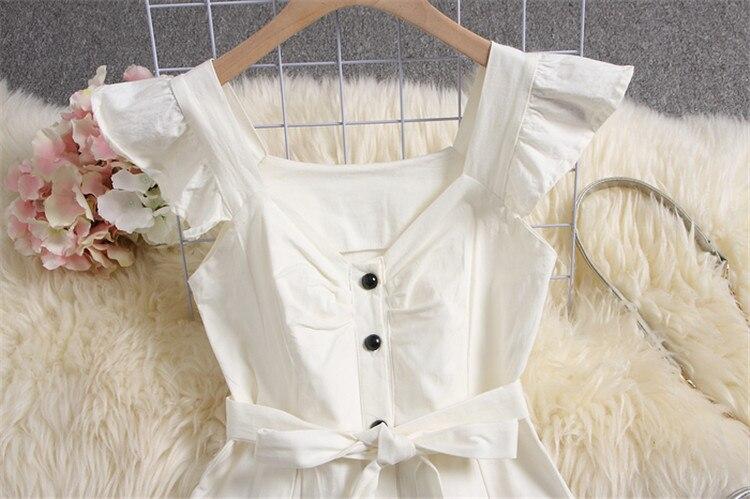 ALPHALMODA 18 New Polka Dot Shirt Pocket Dress Petal Sleeve Single Breasted Slim Sashes Women Fashion Summer Vestidos 26