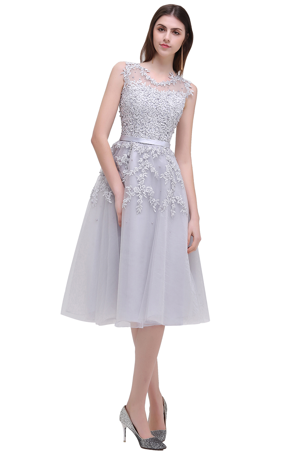 Image 3 - In stock fast ship Short beaded Cocktail Dresses Dusty pink Lace Cheap A line Tulle Sleeveless Cocktail Party Prom Dress 2019-in Cocktail Dresses from Weddings & Events