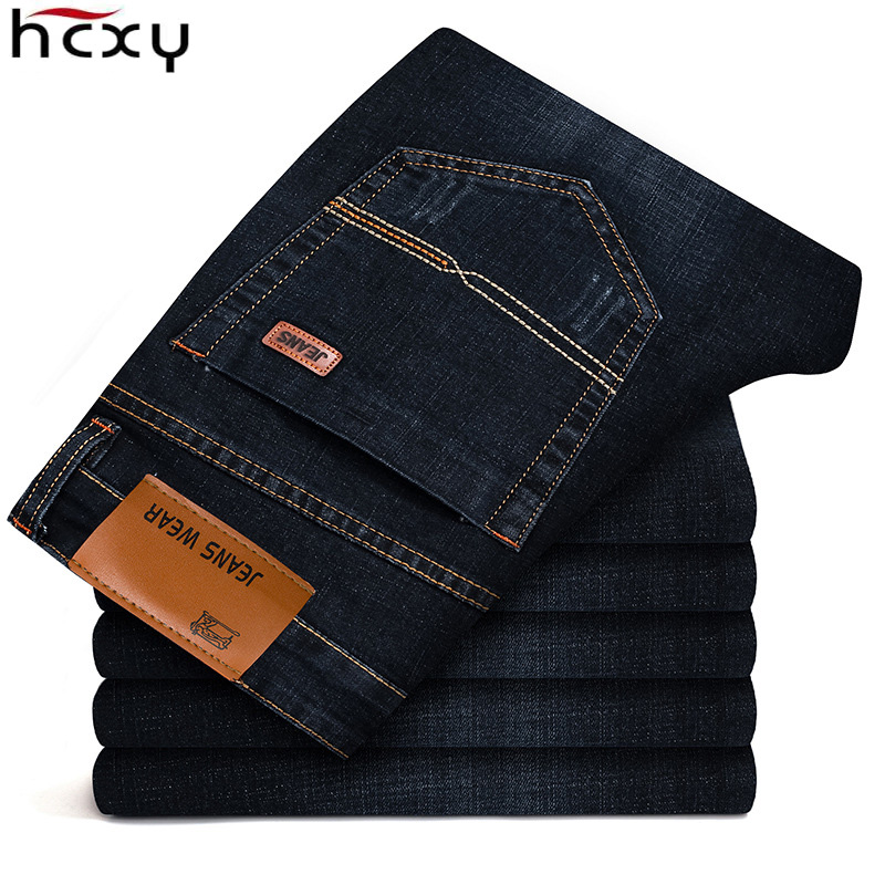 HCXY 2019 Mens Jeans New High Quality Fashion Men Commerce Casual Jeans Slim Straight  Elasticity Jeans Male Trousers  Size 40
