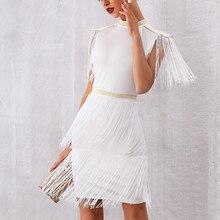 DressBird Women Summer Bodycon Party Dress Vestido Elegant White Black Short Sleeve Tassel Fringe Mini Club Vestidos