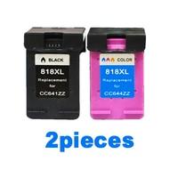 2pcs XiongCai Compatible ink cartridges for HP 818 Deskjet D2500 F2418 D1600 D1668 F4200 F4238 printers cartridge For HP818 XL