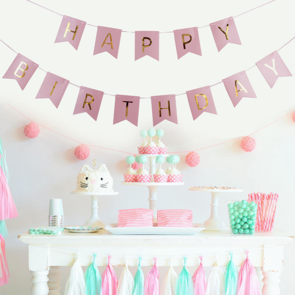 pink blue paper decoration set happy birthday banner foil swirls