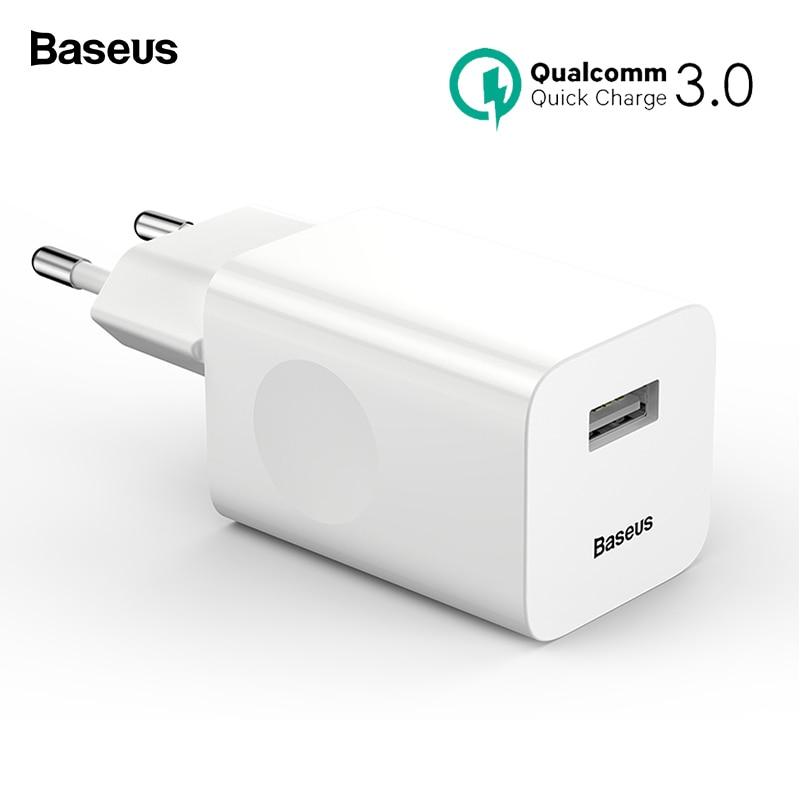 Baseus 24 W de carga rápida USB 3,0 cargador de QC3.0 de pared cargador de teléfono móvil para iPhone Xiaomi Tablet iPad de la UE QC de carga rápida