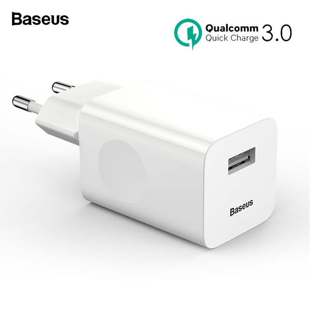Baseus 24W Quick Charge 3.0 USB Charger QC3.0 Travel Wall Mobile Phone Charger for iPhone Xiaomi Tablet iPad EU QC Fast Charging