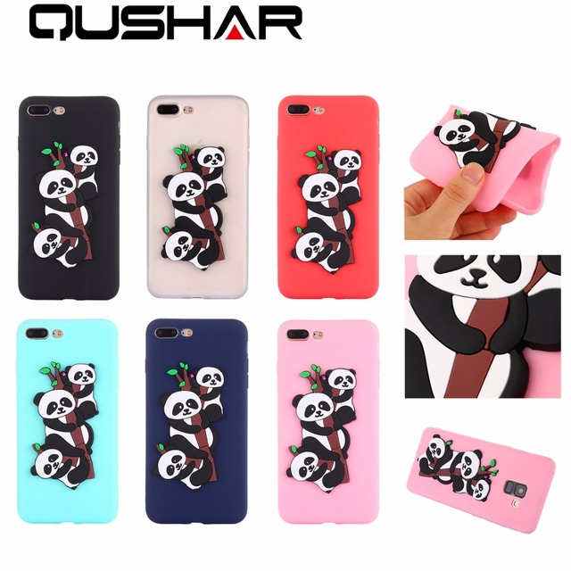 for iphone 6 7 8 plus 3d emboss silicone phone case colorful panda