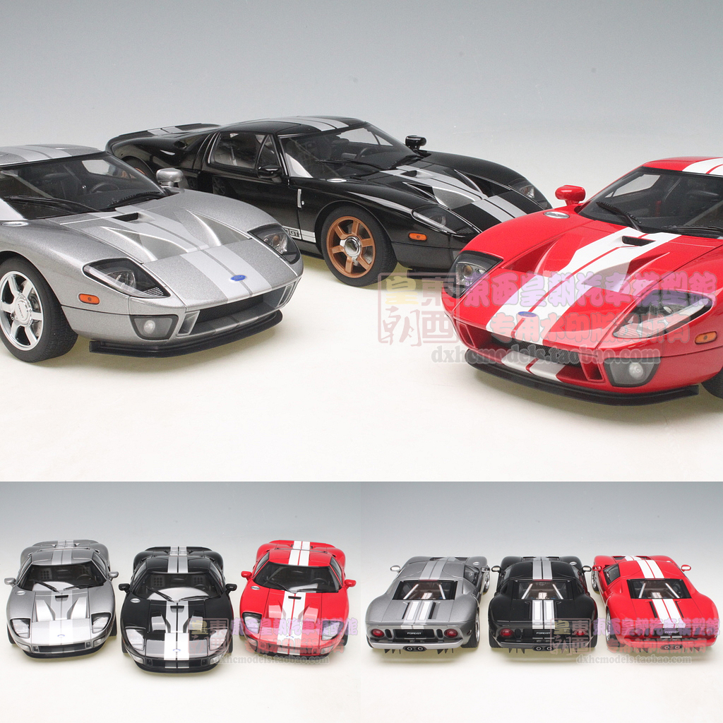 Autoart Autoart  Ford Ford Gt Red And White Black Grey Model Alloy Car