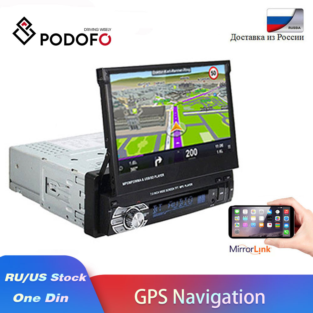 "Podofo 7"" Retractable Autoradio GPS Bluetooth Navigation Car Radio MP5 Player Audio Stereo 1DIN Universal FM Car Accessories-in Car Radios from Automobiles & Motorcycles"