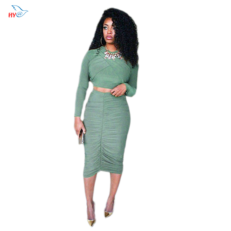 Women Fashion Suit 2 Piece Set Long Sleeve crop top Pleated skirt Decoration And Sexy Pleated Skirt Party Club Dress Vestido