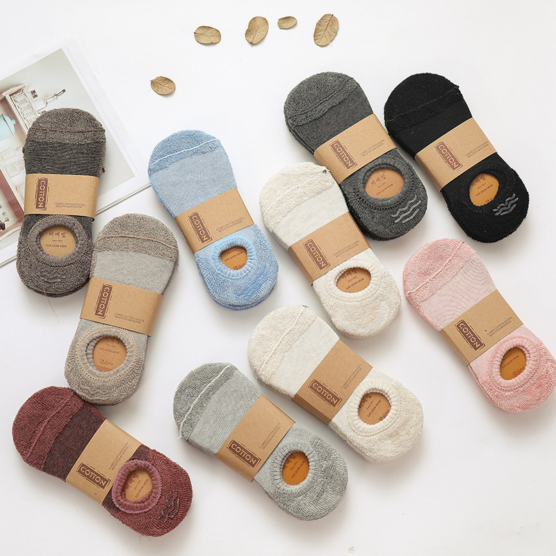 New Fashion 3 Pairs Woman Socks Slippers Solid Color Thick Winter Cotton High Quality Women's Boat Socks  Women Invisible