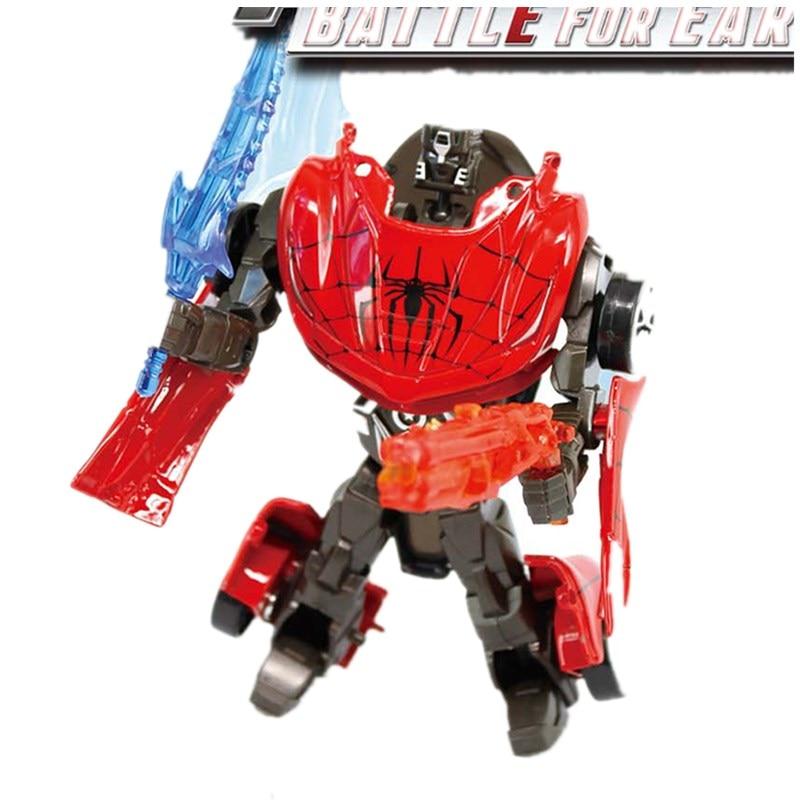NEW Spider-Man Hulk Black Widow Kapitän Anime Serie Action Figure Spielzeug Transformation 6 Roboter Auto Juguetes Modell Spielzeug für Kind