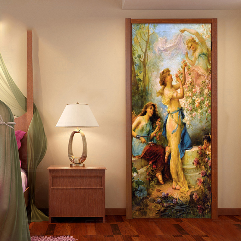 European Style Oil Painting Photo Wall Door Sticker Wallpaper Living Room Bedroom Creative Art Background Wall Covering Mural 3D free shipping large mural wallpaper villa living room ceiling european oil painting wallpaper