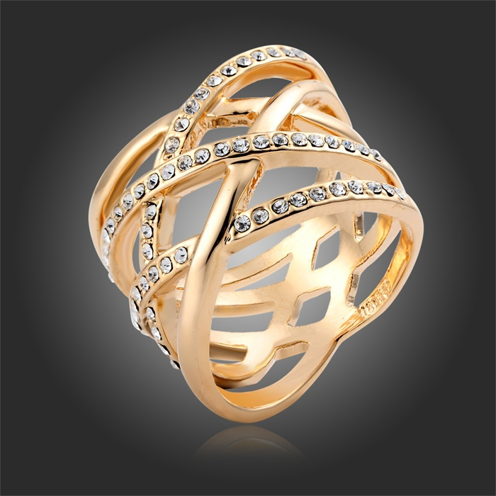 famous designer gold color intersect multi cross cluster crystal infinity statement ring for women bague fingers fashion jewelry