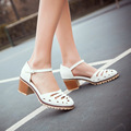 new fashion spring summer shoes women sandals cut-outs square heels buckle strap close toe shoes small big size 33-43 0129