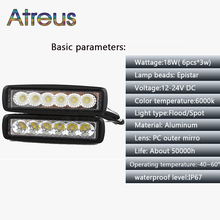 Atreus 2pcs 6Inch 18W Car LED Work Light Bar 12V Waterproof for Motorcycle Offroad Boat Tractor Truck 4x4 ATV Driving Fog Lamp