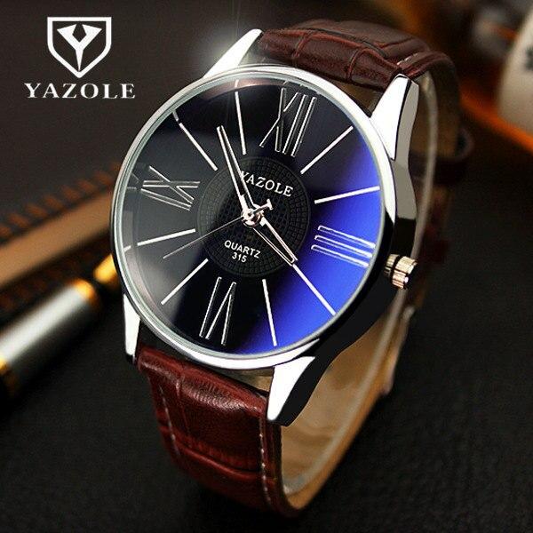 YAZOLE reloj de cuarzo hombres de moda de negocios de cuero relojes Correa minimalista estudiante coreano elegante relogio masculino reloj