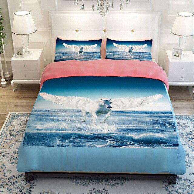 Superb 3D Unicorn Pegasus Blue Sea Bluesky Bedding Sets Twin Queen King Size Quilt  Cover Flat Sheets Design Ideas