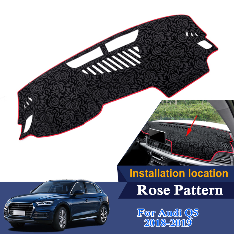 Car Styling Dashboard Protective Mat Shade Cushion Pad Rose Pattern Carpet For Audi Q5 Q5L 2018