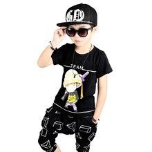 Boys garments summer season children hip hop clothes 100% Cotton t-shirt+boys shorts 2pcs characters boy garments for three 5 6 eight 10 12 years