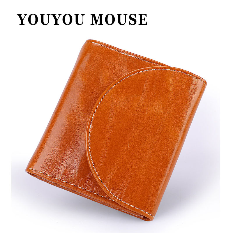 YOUYOU MOUSE High Quality RFID Genuine Leather Wallets Women Short Money Purse 3 Folds Female Coin Pocket Card Holder Wallets high quality leather cute women s wallets coin purse leather short women leather wallets girls best gift free shipping