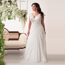 ADLN 2017 In Stock Plus Size Wedding Dress Elegant V-neck Applique Chiffon Beach Bridal Gowns vestidos de novia