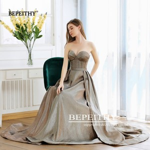 Image 2 - Nova moda 2020 sweetheart a line vestido de noite longo com trem robe de soiree sexy alta fenda glitter ouro baile de formatura vestido de festa
