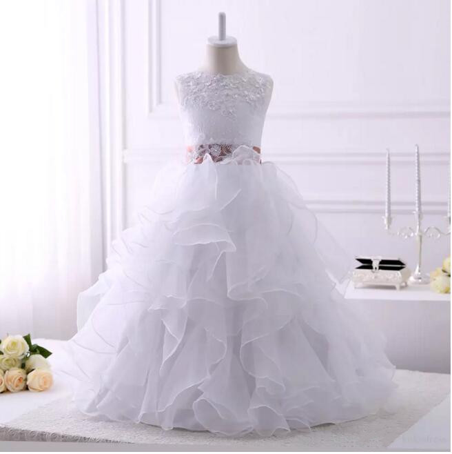 New Princess White First Communion Dress Lace Organza Ball Gown Girl's Pageant Dresses Flower Girl Dress for Wedding Any Size new white and blue lace flower girl dresses birthday party pageant prom glitz frocks first communion ball gowns for juniors