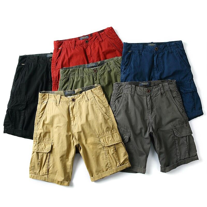 Summer 100% Cotton Mens Short Pants Casual Multi-pocket Male Cargo Shorts Slim Fit Men High Quality Bermuda Breeches Clothing