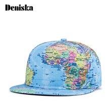DENISKA New 2017 Summer Fashion Korean Style Tellurion World Map Printing Polyester Hip Hop Baseball Cap for Science Men Women