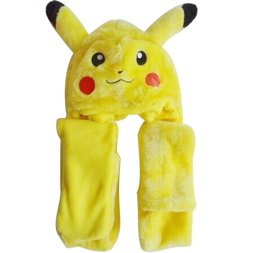 Free Shipping New Hot Children Adult Kid s Cartoon Animal Pikachu Long  Plush Hats Beanie Hat Scarf Gloves Ear Warm Mittens 73834c2cf5c