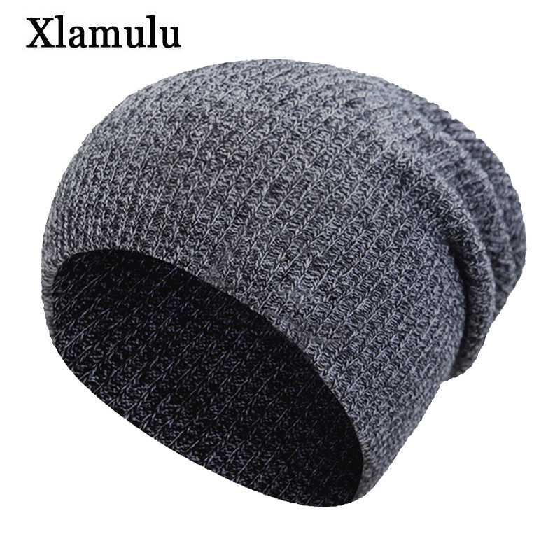 Xlamulu Knitted Hat Winter Hats For Men Skullies Beanies Hat Women Caps Male Warm Baggy Bonnet Mask Warm Female Beanies Hats Cap