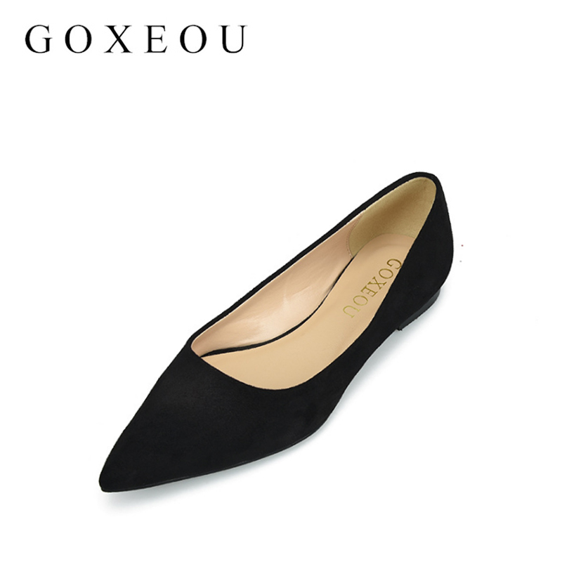 GOXEOU Fashion Women Shoes Woman Flats high quality suede Casual Comfortable pointed toe Rubber Women Flat Shoe New Flat women flats casual shoes 2017 summer sandals pointed toe fashion shallow rivet flower flat shoes woman loafers cool comfortable