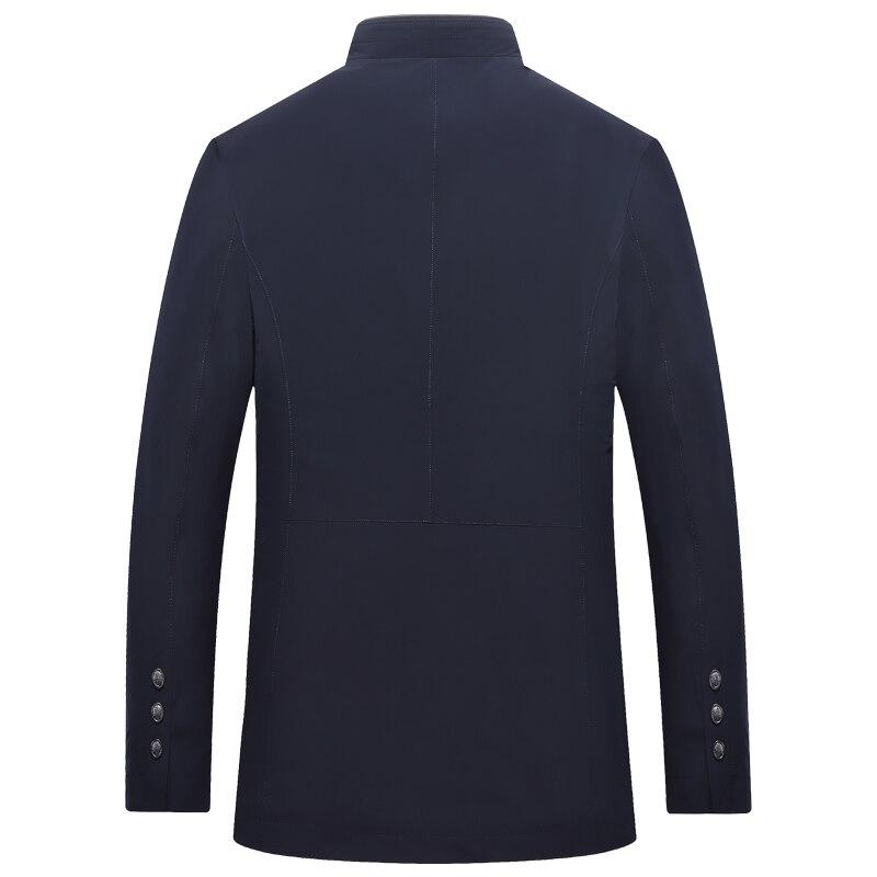 Весенне осенняя мужская куртка с воротником стойкой, ветровка, мужская темно синяя темно зеленая бейсбольная куртка, Повседневная тонкая, в... - 4