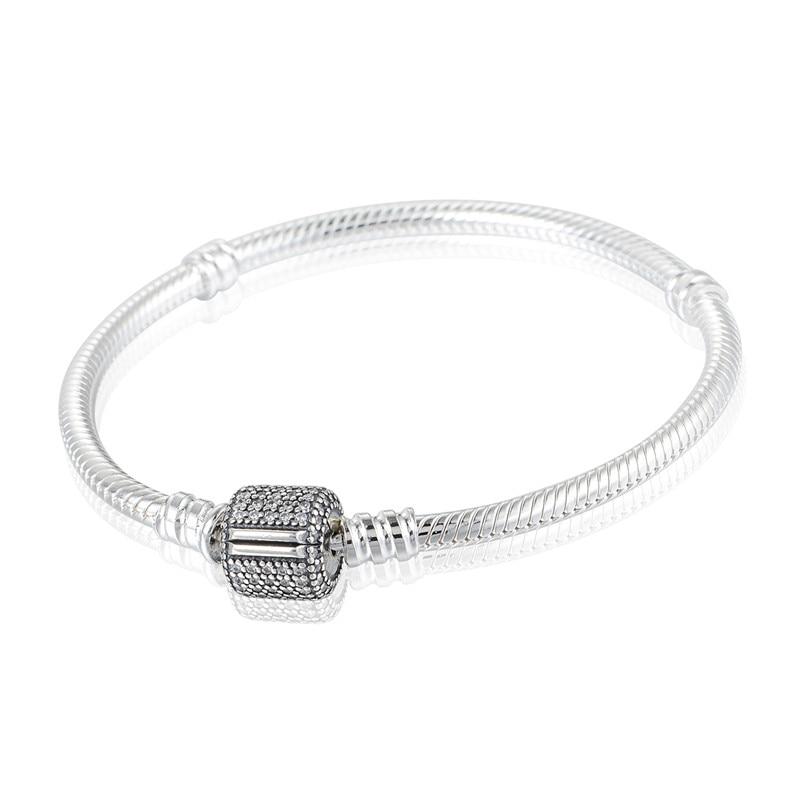 Pandulaso Clear CZ Signature Crystal Clasp Snake Chain Bracelets for Women & Men DIY Jewelry Original Silver 925 Charm Bracelets
