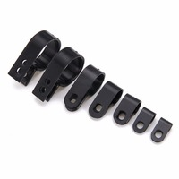 200pcs Box Assorted Black P Clips Fasteners Mayitr Nylon Plastic P Type Clamp Clip For Cable