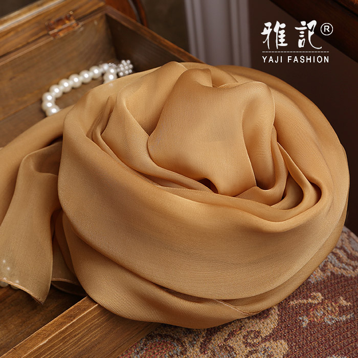 Genuine Silk Women Scarf 2017 Summer Autumn Winter High Quality Shawl Fashion Golden Solid Color Scarves